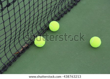 Tennis court and balls