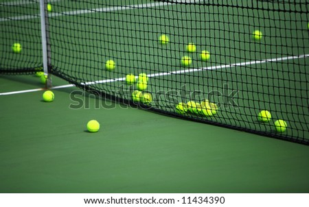 Tennis court and tennis balls - stock photo