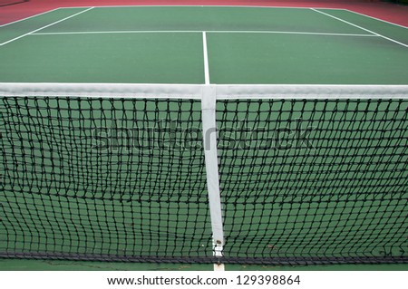 Tennis court in published sport club - stock photo