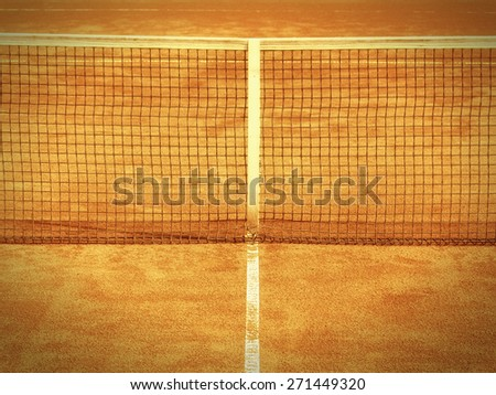 tennis court line and net, outside - stock photo
