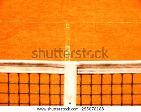 tennis court  net and t-line, focus in background - stock photo