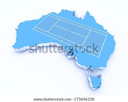 tennis court on 3d australia - stock photo