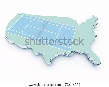 tennis court on 3d united states - stock photo
