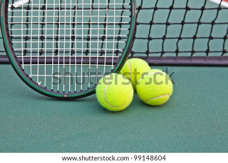 Tennis court with ball and racket