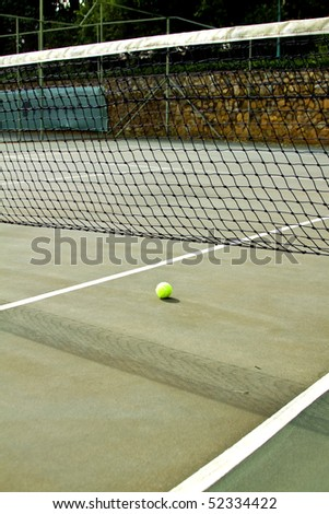Tennis court with ball lines and net