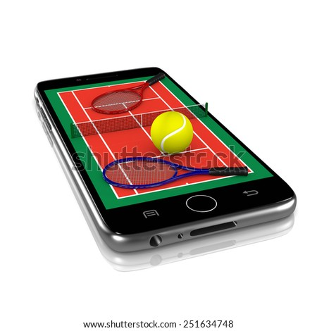Tennis Field with Ball, Net and Racket Equipment on Smartphone Display 3D Illustration Isolated on White Background - stock photo