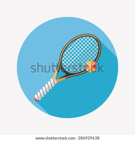 tennis flat icon with long shadow