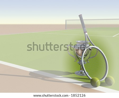 Tennis image with trophy and space for text - stock photo