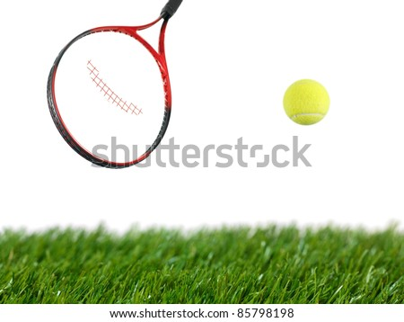 Tennis iquipment isolated against a white background