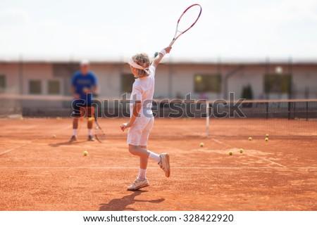 tennis lesson - stock photo