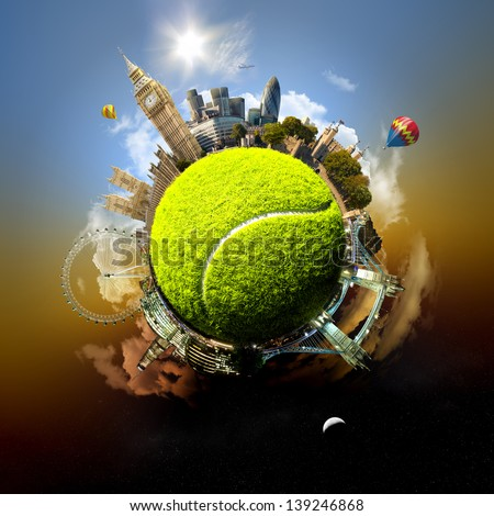 Tennis planet of London - symbolic illustration of London, UK, built on a tennis ball, with all important buildings and attractions of the city - stock photo