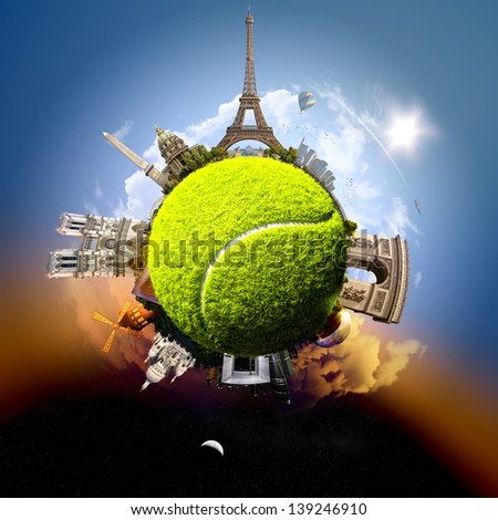 Tennis planet of Paris - symbolic illustration of Paris, France, built on a tennis ball, with all important buildings and attractions of the city - stock photo