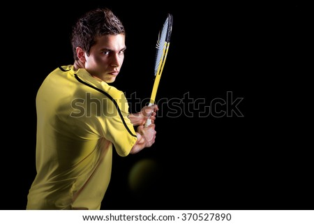 Tennis Player Backhand Portrait - stock photo