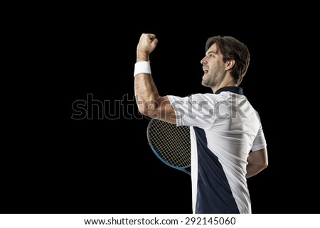 Tennis player celebrating, on a black background.