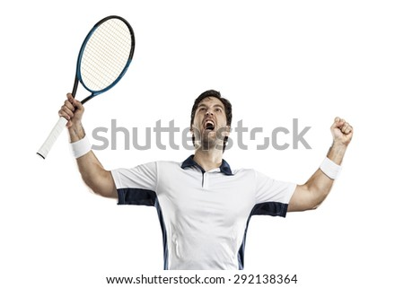 Tennis player celebrating, on a white background. - stock photo