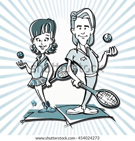 tennis player couple cartoon