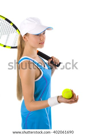 tennis player in the sports form with a tennis racket on a white background     - stock photo