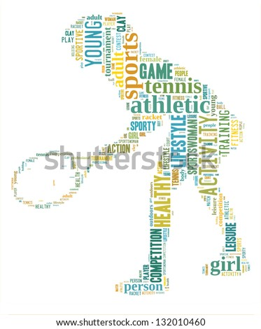 Tennis player info-colorful text graphic and arrangement concept on white background (word cloud) - stock photo