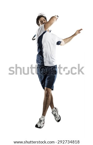 Tennis player on a white background.