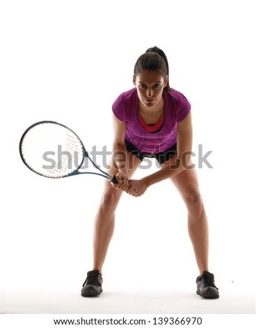 Tennis player on black background.Tennis woman. - stock photo