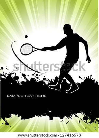 tennis player on grunge background - stock photo