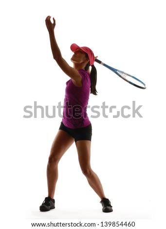 Tennis player service on white background.Tennis woman. - stock photo