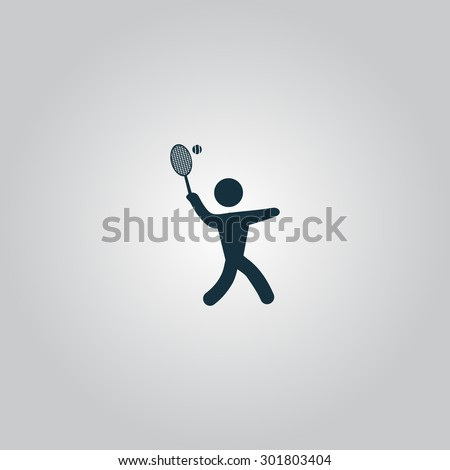 Tennis player, silhouette. Flat web icon or sign isolated on grey background. Collection modern trend concept design style  illustration symbol - stock photo