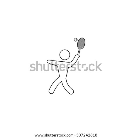 Tennis player, silhouette. Outline black simple symbol - stock photo
