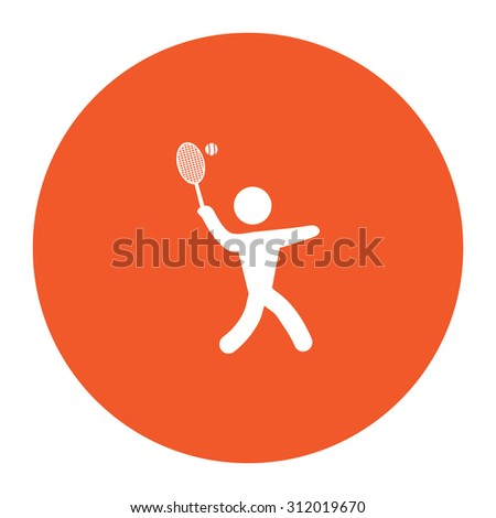 Tennis player, silhouette. Simple flat white icon in the orange circle. illustration symbol - stock photo