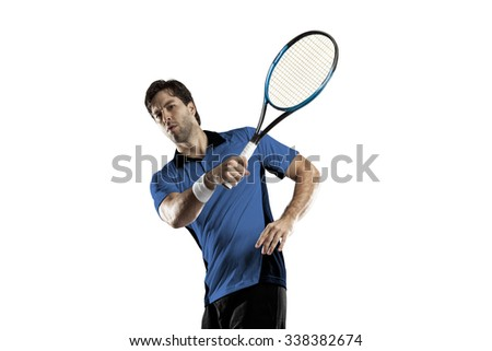 Tennis player with a blue shirt, playing on a white background.