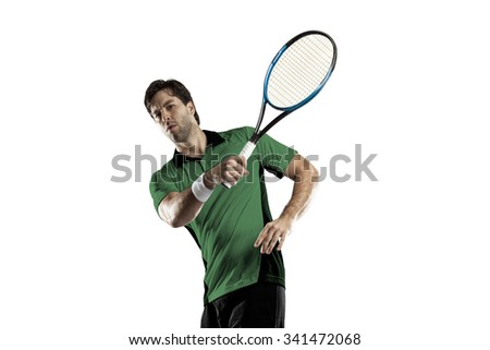 Tennis player with a green shirt, playing on a white background.