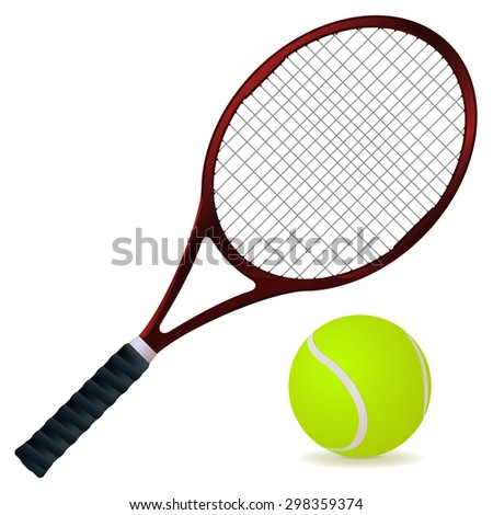 Tennis racket and ball isolated on white background. Raster version