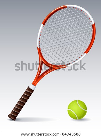 Tennis racket and ball (raster version)