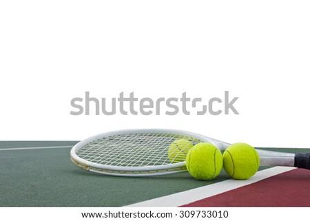 tennis racket and balls on white background - stock photo