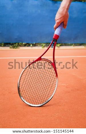 tennis racket background - stock photo