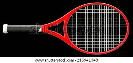 Tennis racket. isolated on black background. 3d - stock photo