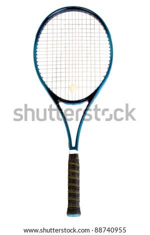 Tennis racket, isolated on white background - stock photo