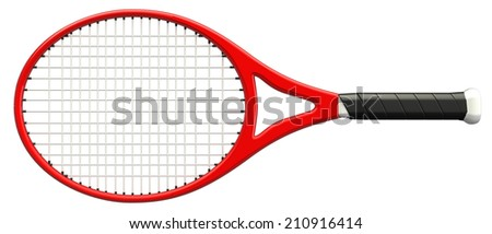 Tennis racket. isolated on white background. 3d - stock photo