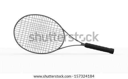 Tennis racket rendered on white background - stock photo