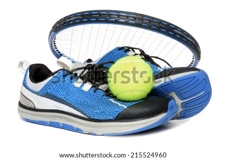 tennis racket shoes and ball isolated on white background - stock photo
