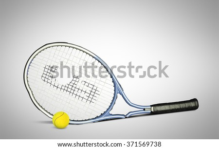 Tennis racket with a white towel and balls - stock photo