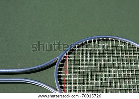 Tennis Racket with room for copy above - stock photo