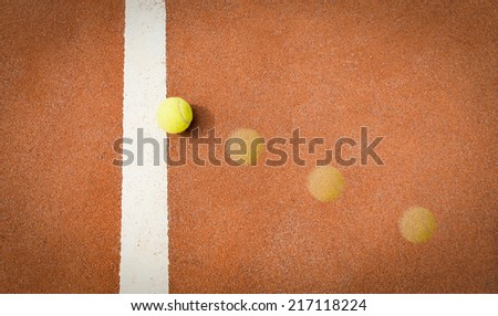 tennis smash, ball trajectory - stock photo