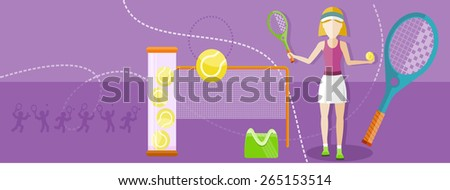Tennis sport concept with item icons. Portrait of sporty girl tennis player with racket in flat design style. Raster version - stock photo