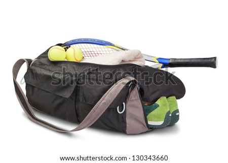 Tennis sports bag. With the racket and tennis ball. - stock photo