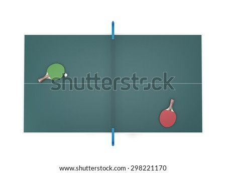Tennis table top view and two tennis racket with ball on it. 3d illustration. - stock photo