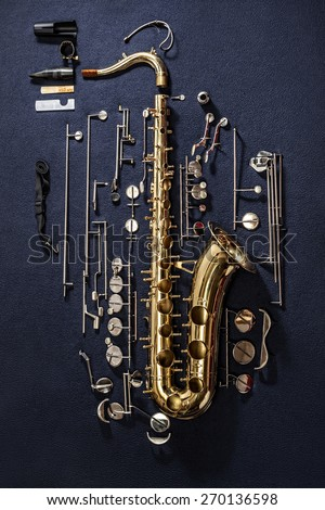 Tenor saxophone, exploded view drawing isolated on blue background. Exploded diagram of tenor saxophone. Key action of instrument. - stock photo