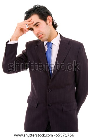 Tensed young businessman thinking about his problems, isolated on white