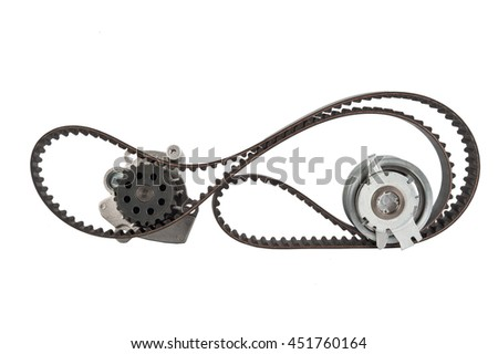 tension pulley and timing belt with roller isolated on white background - stock photo