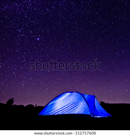 Tent against the Milky Way and starry sky. The popularity of natural outdoor recreation and travel concept - stock photo